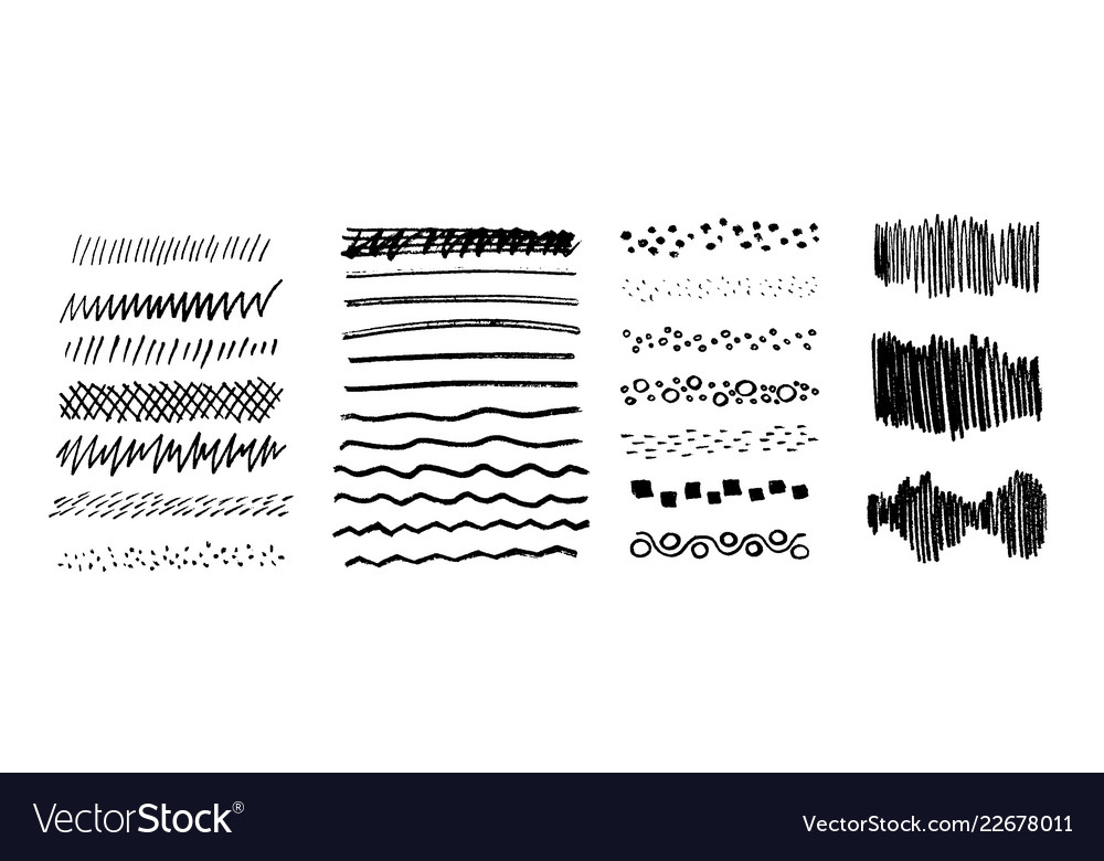 Set grungy graphite pencil art brushes