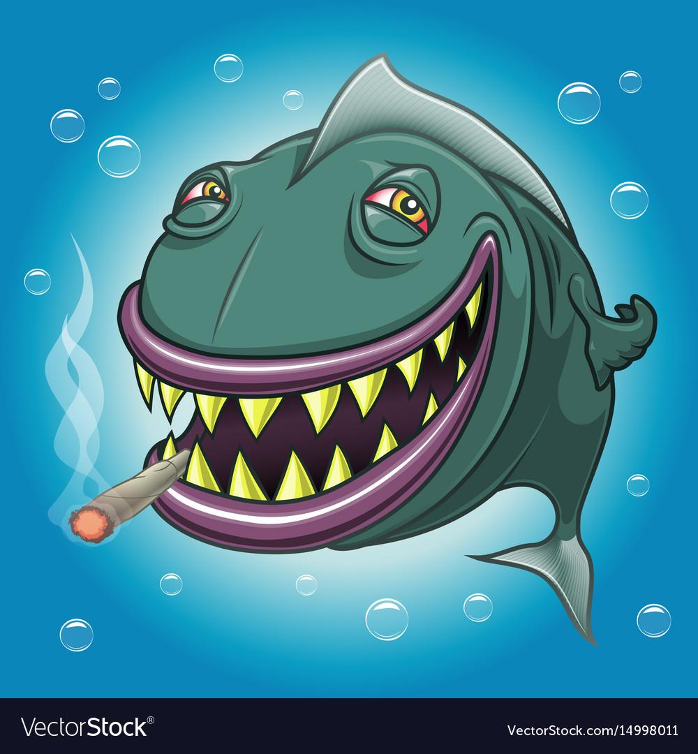 Smiling Cartoon Fish Smoking Marijuana Royalty Free Vector