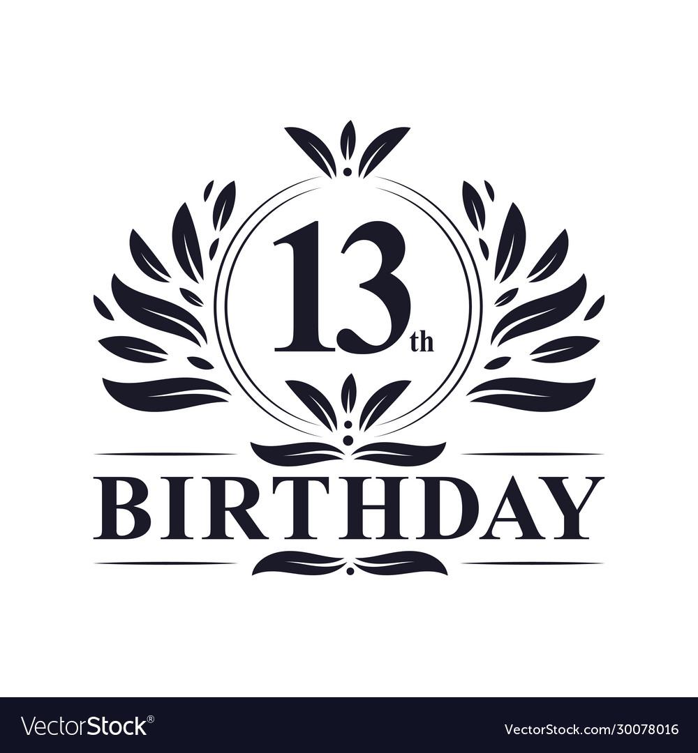 13th birthday logo 13 years birthday celebration Vector Image