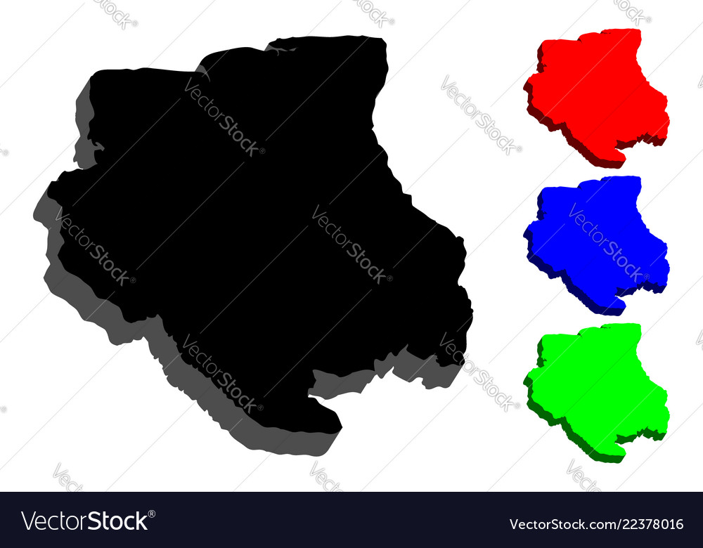 3d Map Of Suriname Royalty Free Vector Image Vectorstock