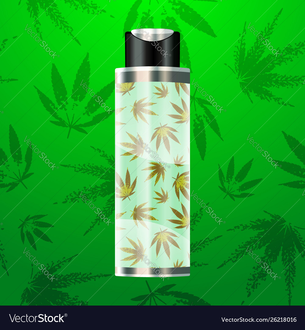 Cbd oil bottle with cannabis pattern background