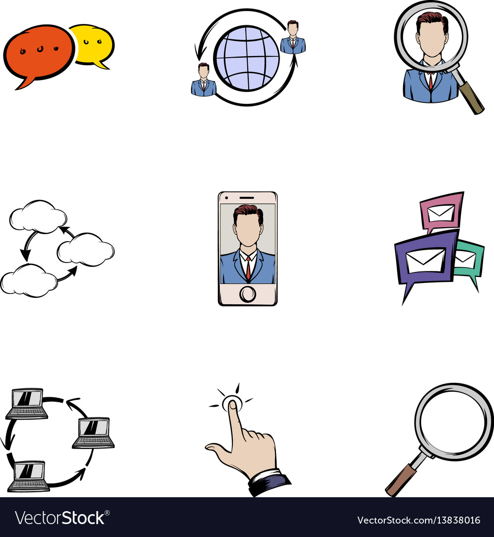 Chating icons set cartoon style