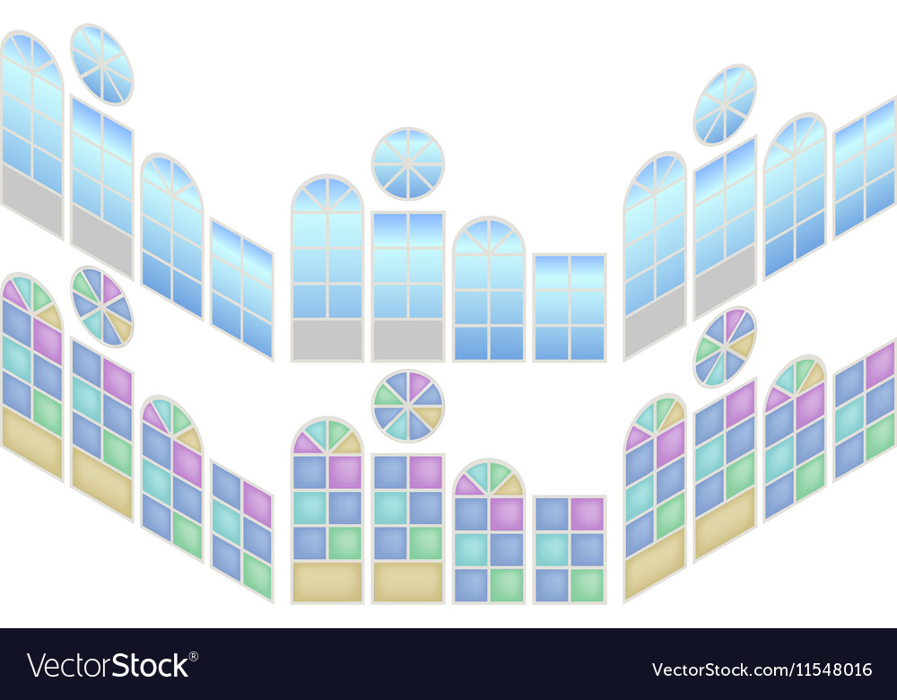 Collection of windows in isometric view