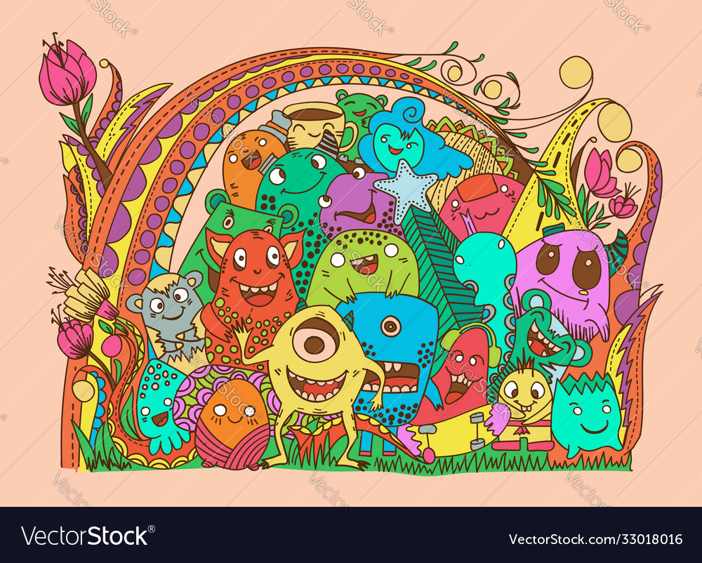 Doodles color monsters collection set