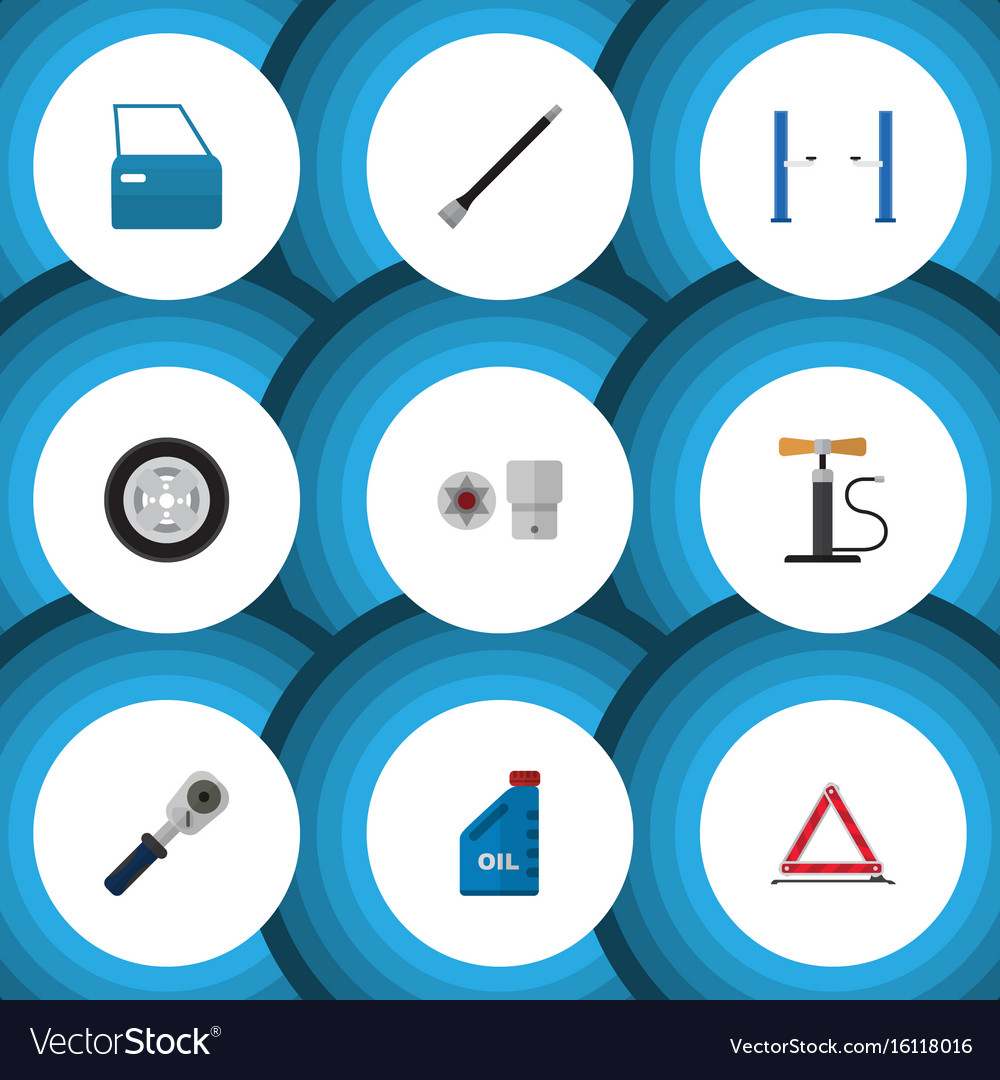 Flat icon service set of automobile part ratchet vector image