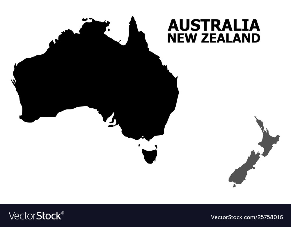 Australia Map Vector.Flat Map Australia And New Zealand With