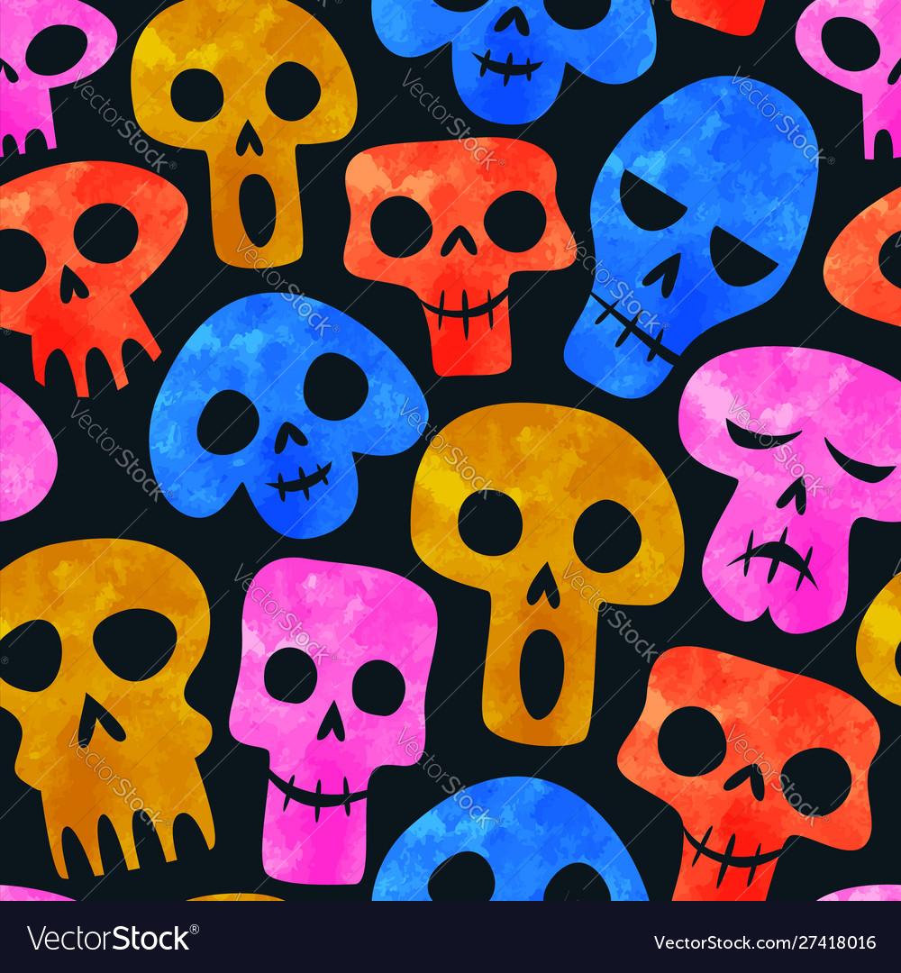 Funny watercolor skeleton skull seamless pattern