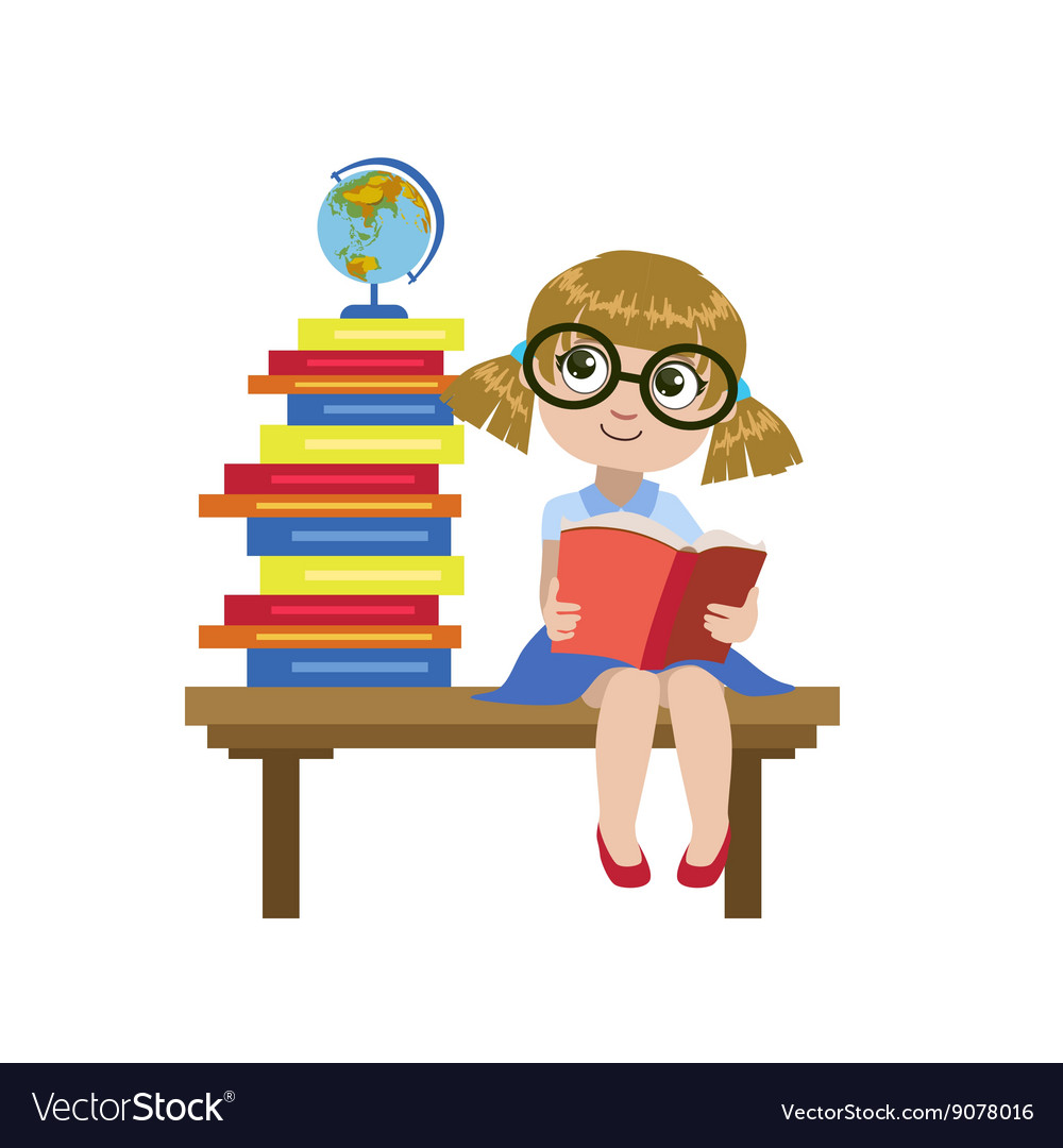 Girl Sitting On The Desk Reading A Book vector image