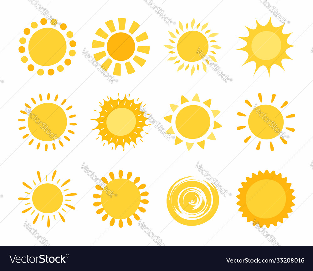 Hand drawn funny cute sun icons