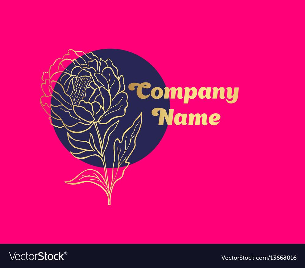 Hand drawn peony flower logo