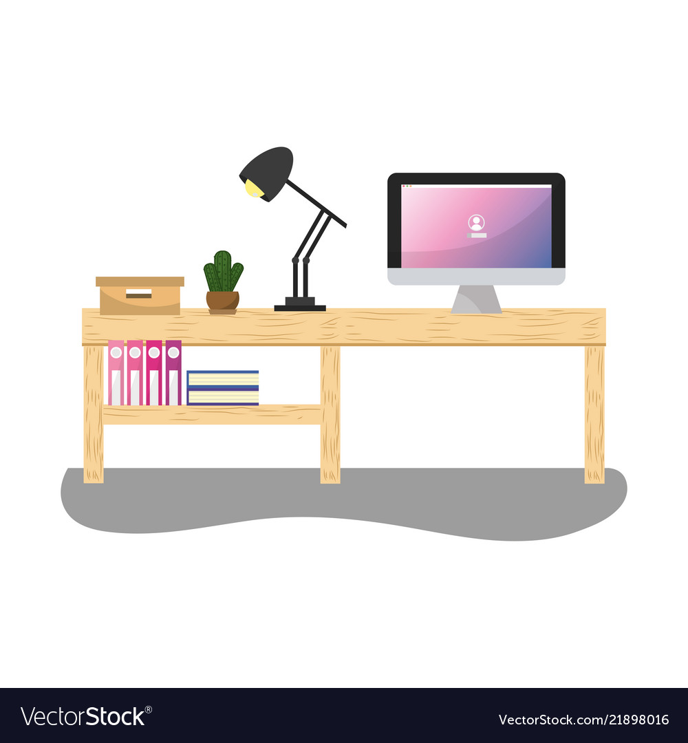 Superb Office Desk With Computer And Lamp With Books Download Free Architecture Designs Ogrambritishbridgeorg
