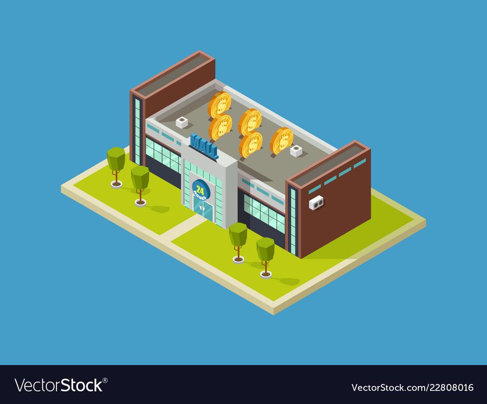 Shopping mall isometric design shopping