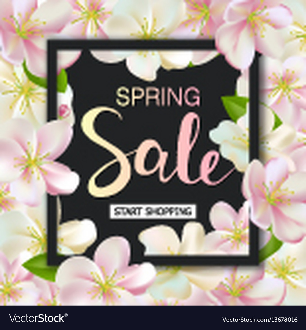 Spring sale background with flowers season