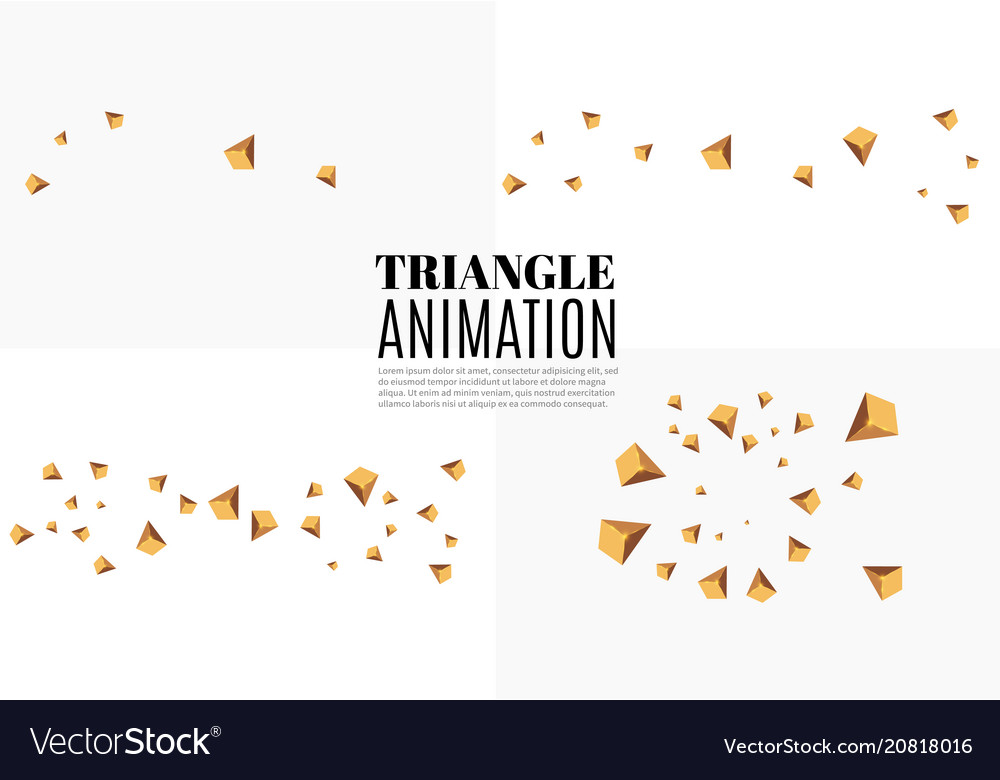 Yellow realistic triangles and golden light