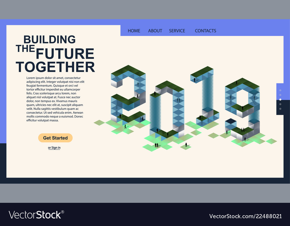 2019 modern isometric banner for the web page