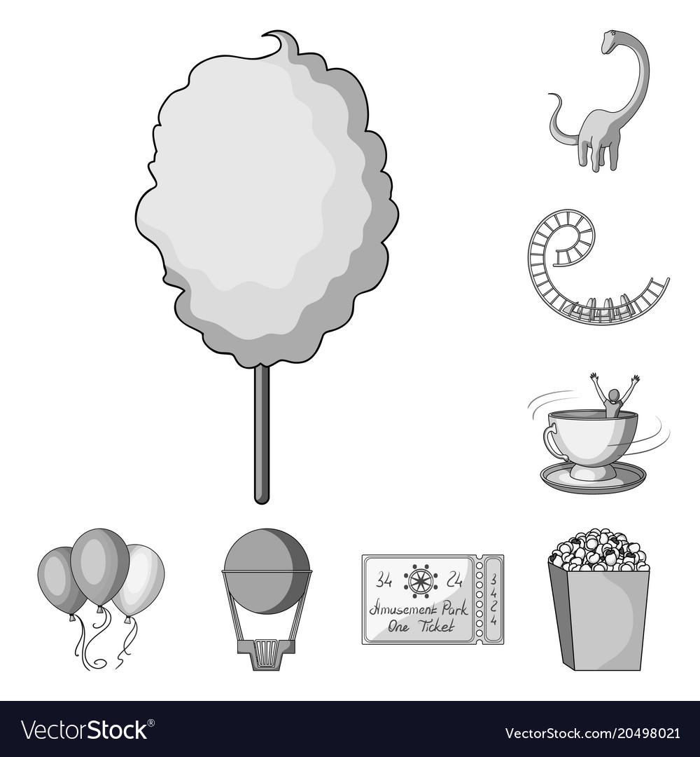 Amusement park monochrome icons in set collection vector image