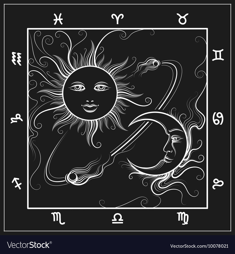 Astrology map with moon and sun Royalty Free Vector Image
