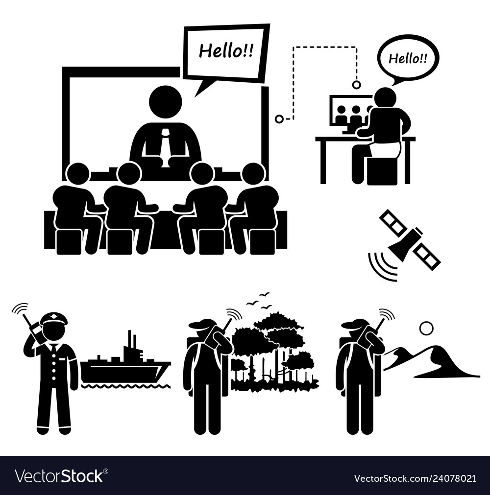 Business video conferencing and man using