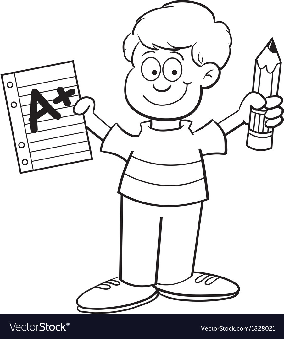 Cartoon Boy Holding a Pencil