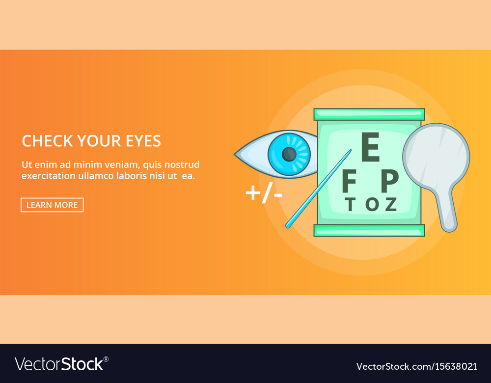 Check your eyes banner horizontal cartoon style vector image