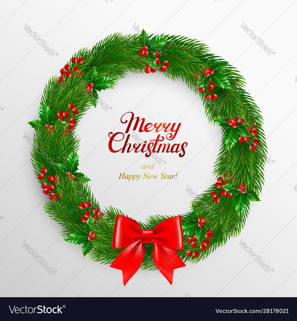 Christmas wreath fir branches decorated with