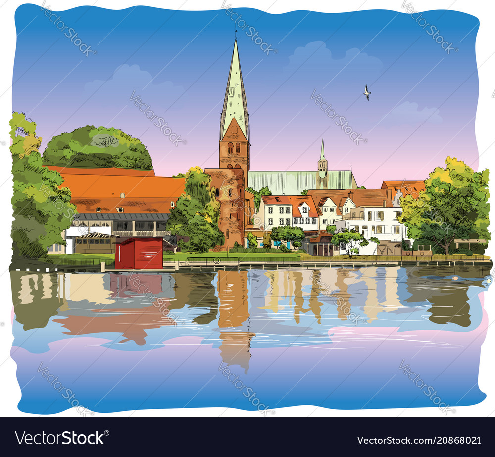 Colorful view on church of st mary in lubeck