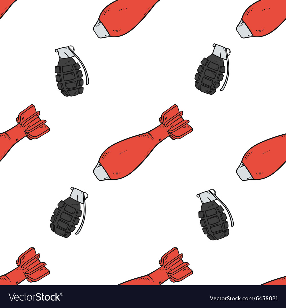 Seamless pattern with doodle grenade and bomb Air