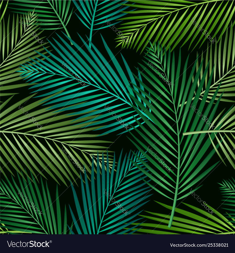 Seamless pattern with tropical leaves palms