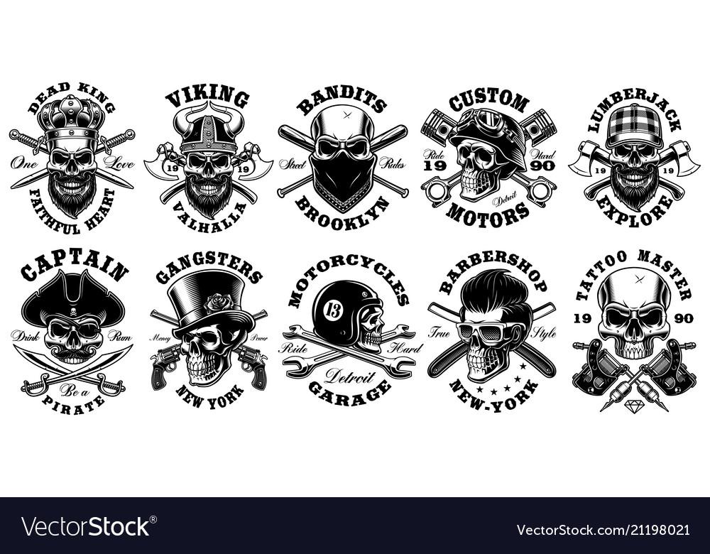 Set of vintage different skulls on white