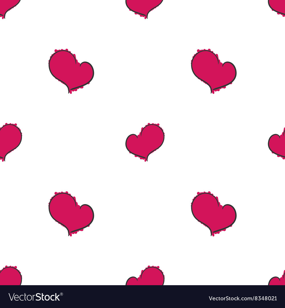 Simple hearts seamless pattern on white background