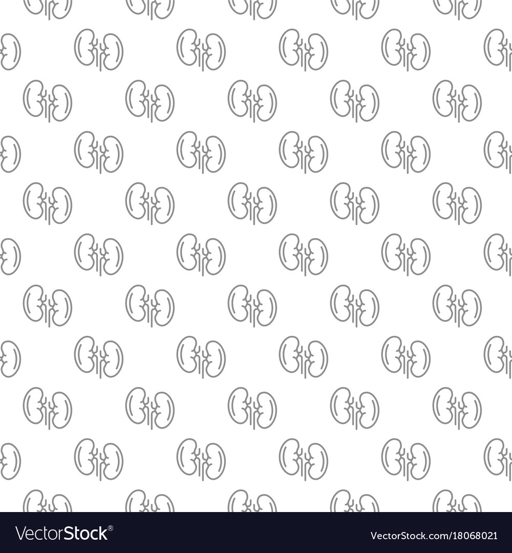 Unique kidney seamless pattern with various icons