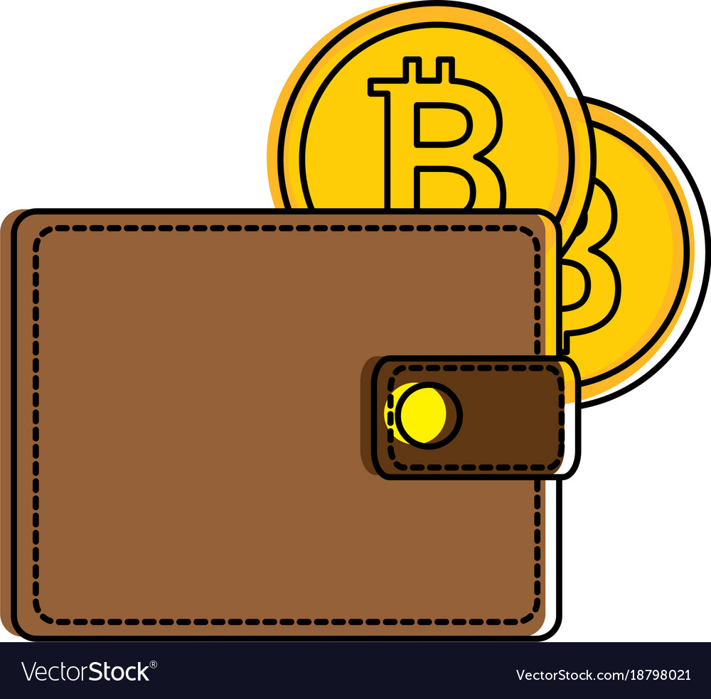 Wallet with bitcoin isolated icon vector image