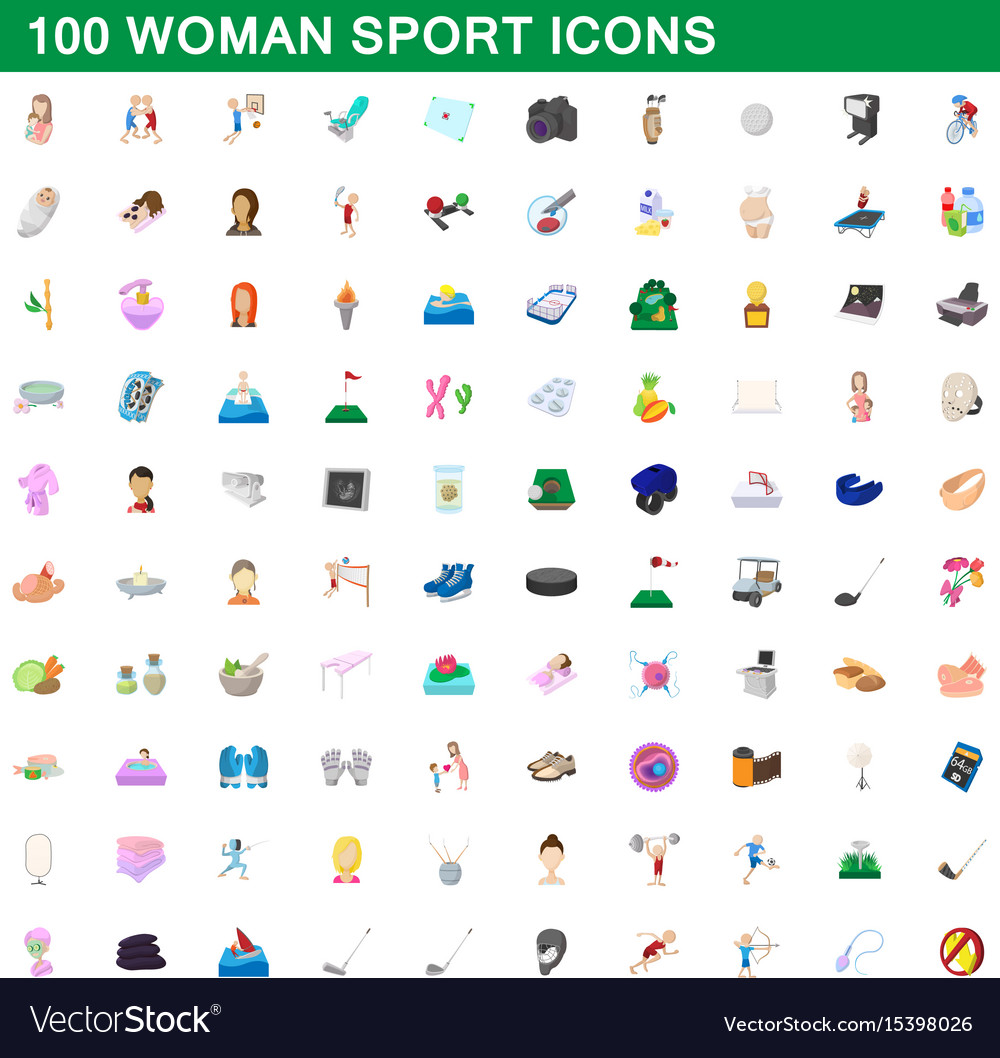 100 woman sport icons set cartoon style