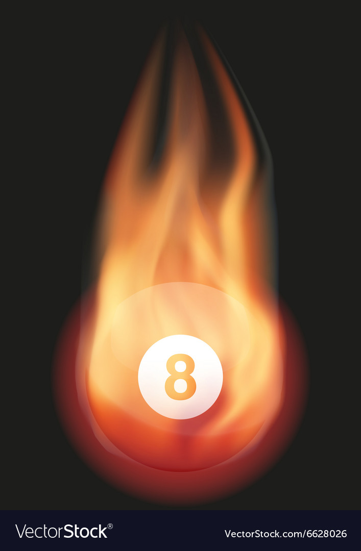 Billiard ball with flame