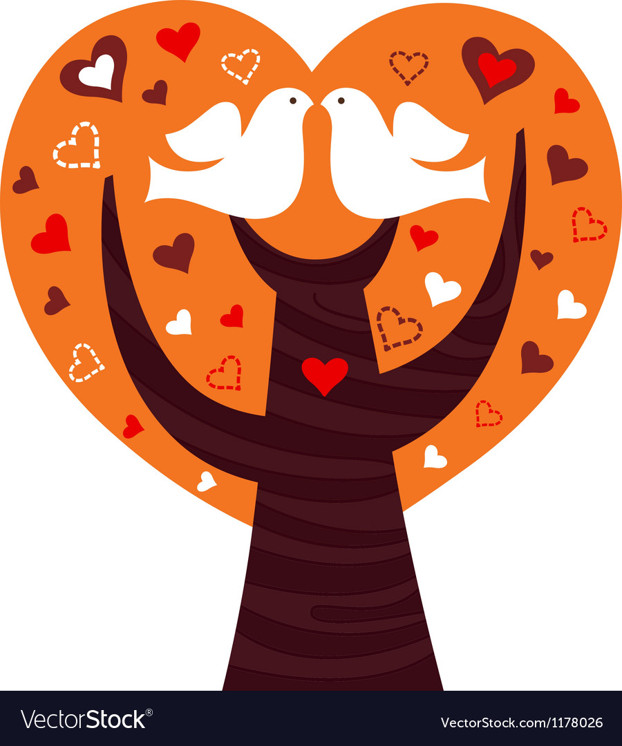 Birds couple in a orange heart tree