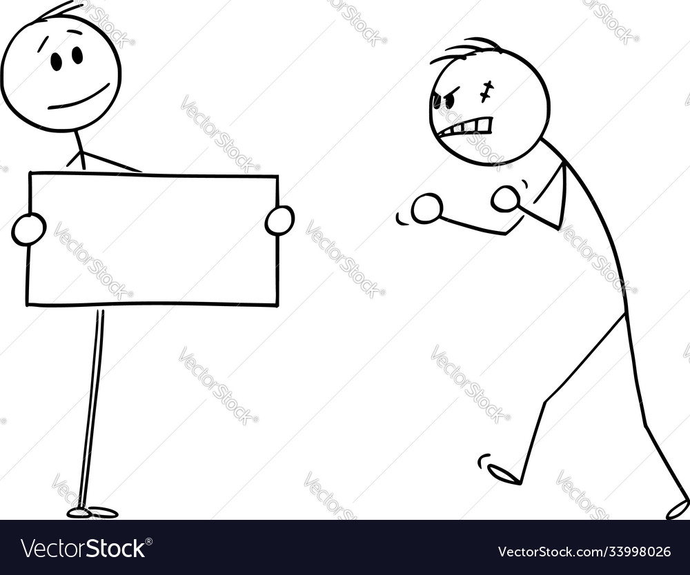Cartoon confident person facing angry