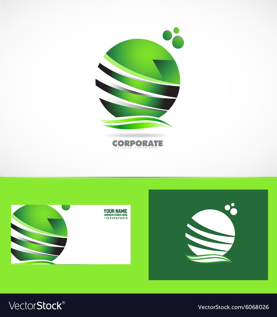 Corporate business green sphere logo vector image