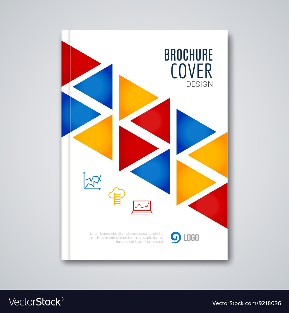 Cover flyer report colorful triangle geometric vector image