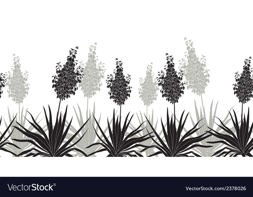 Flowers Yucca silhouette horizontal seamless vector image