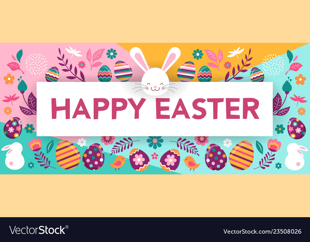 Happy easter banner with flowers eggs and