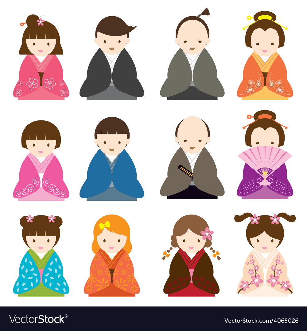 Japanese People dress in Traditional Costume Set