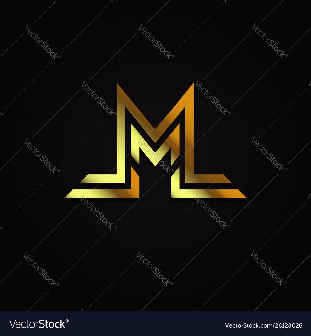 Luxury elegant gold initial letter m logo