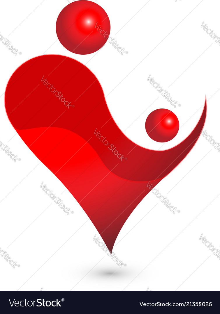 Motherhood love heart icon logo