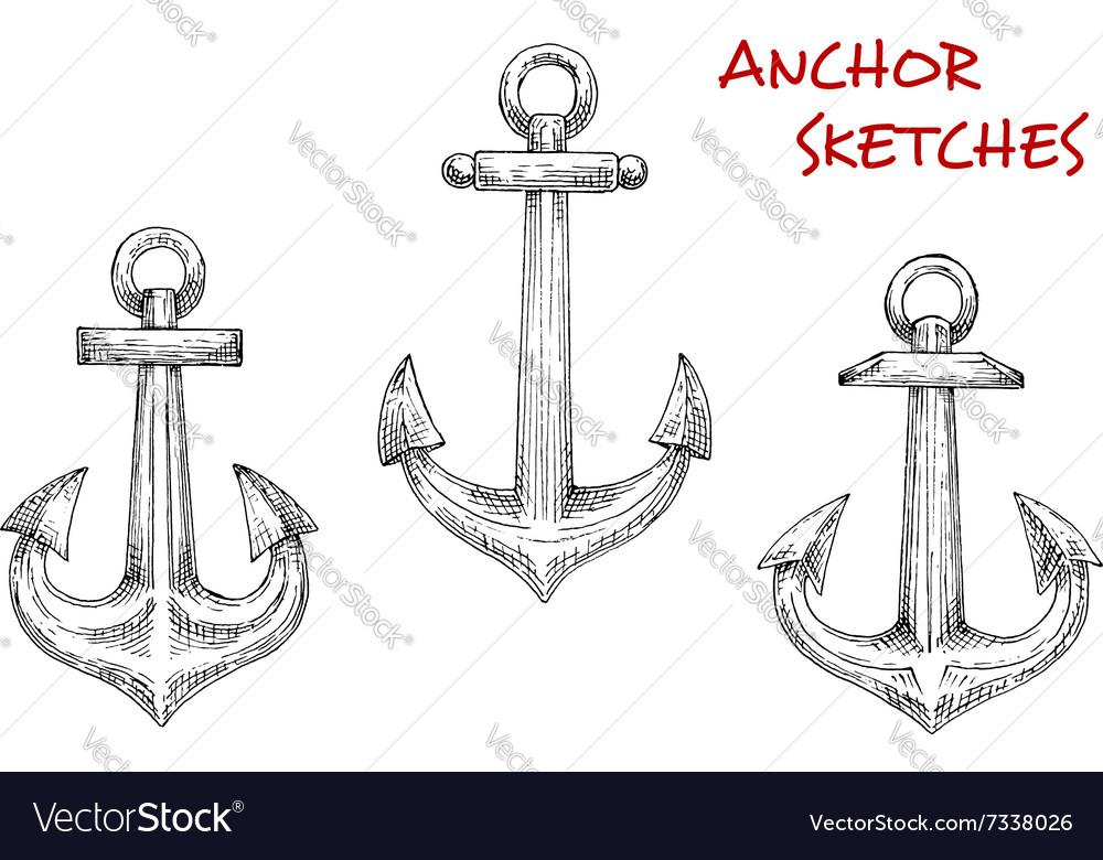 Old marine anchors hand drawn sketches