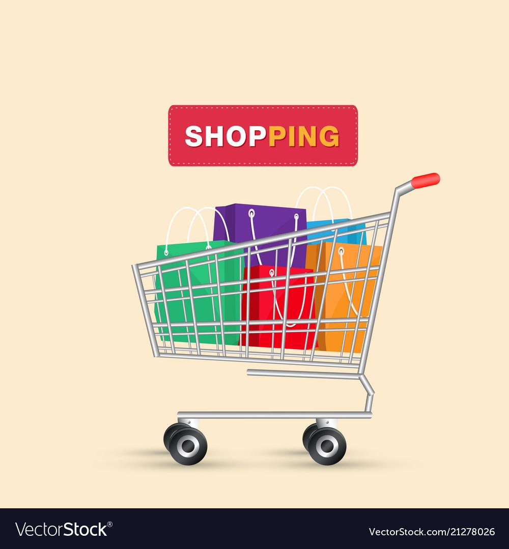 Shopping cart colorful shopping bag background vec