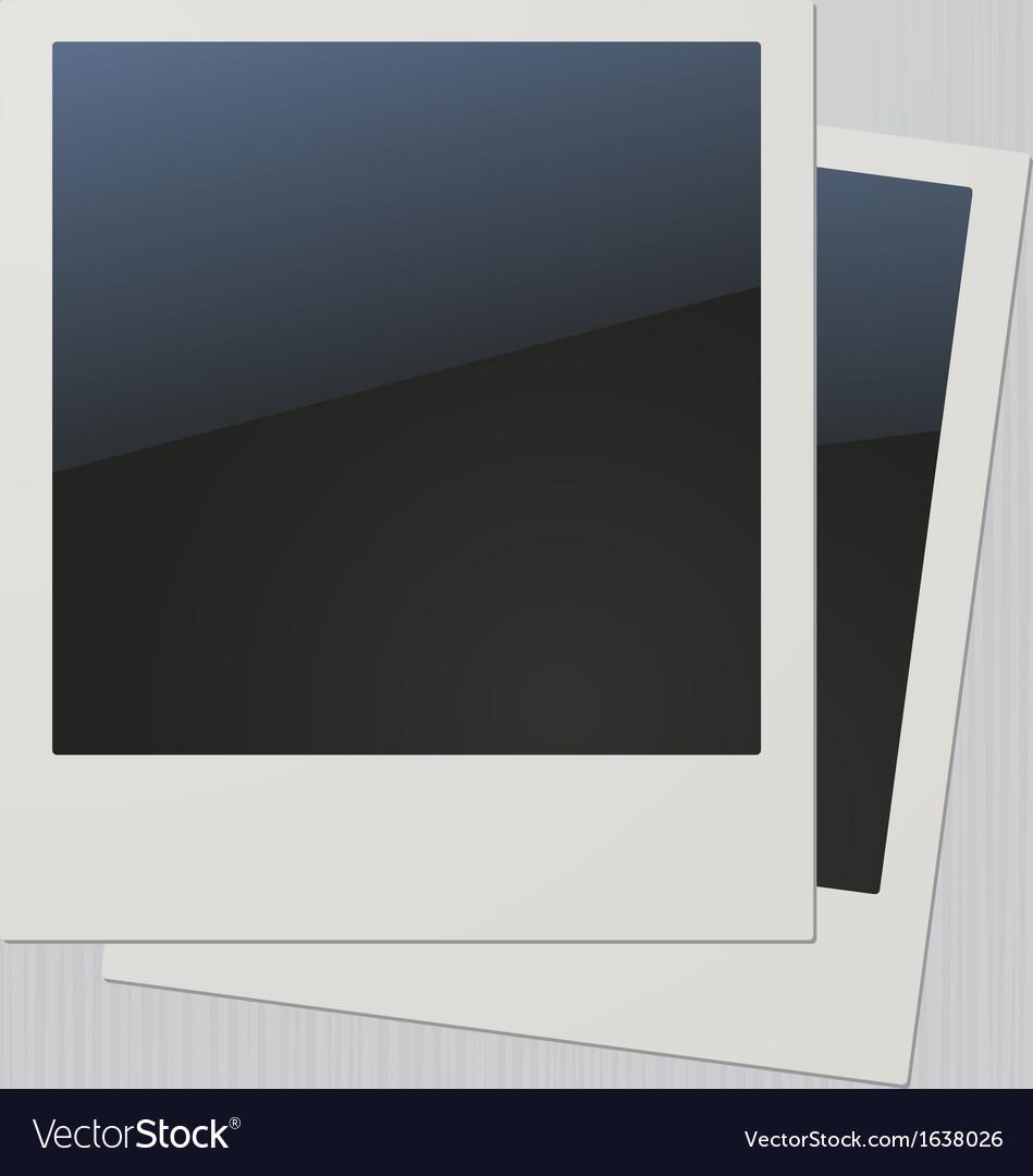 Two blank retro polaroid photo frames