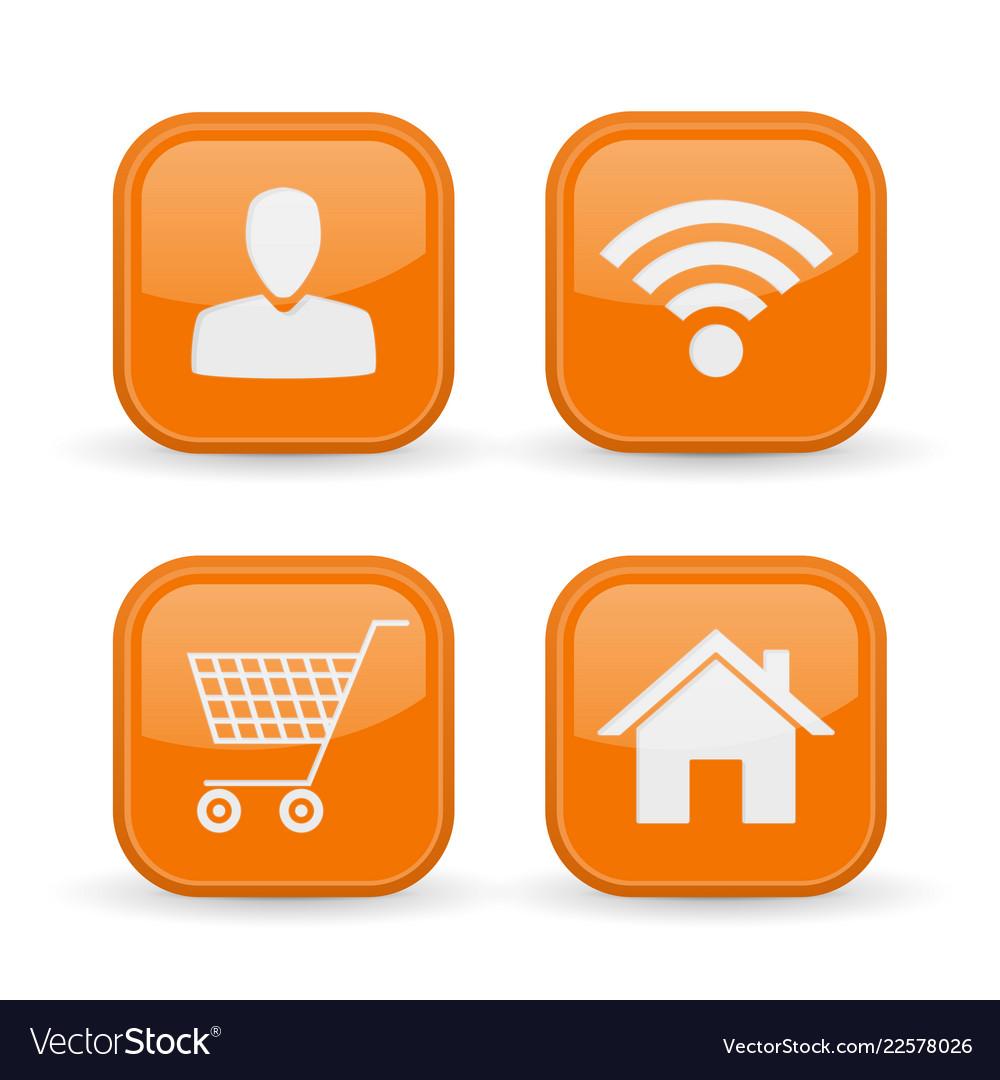 Web icons set orange square shiny buttons