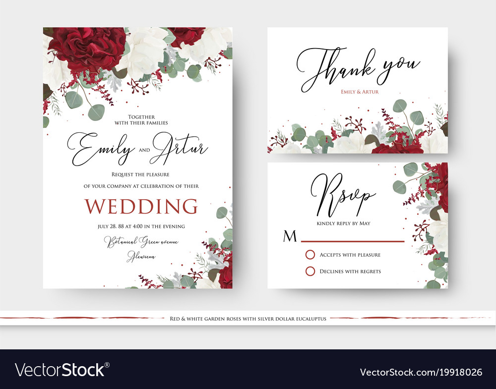 Wedding floral invite save the date thank you card
