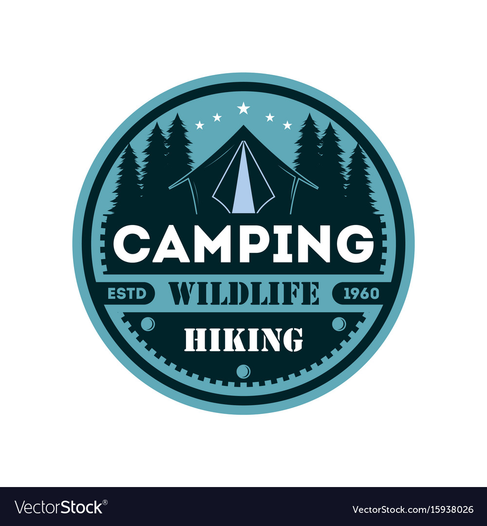 Wildlife camping vintage isolated badge vector image