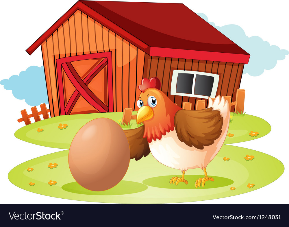 A hen with egg vector image